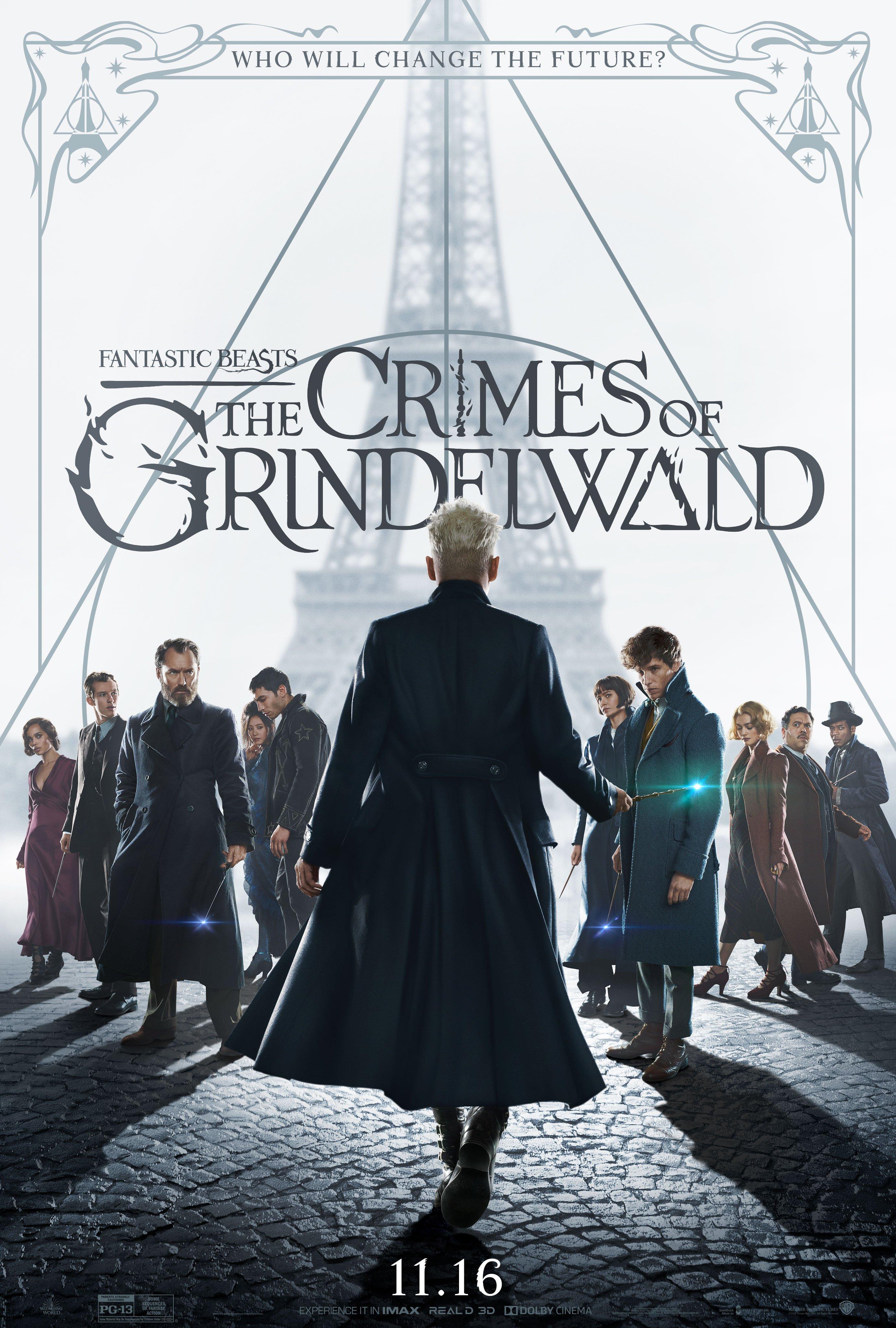 Pôster final de Animais Fantásticos: Os Crimes de Grindelwald. Ele tem Grindelwald, de costas e centralizado, segurando a varinha das varinhas. De frente pra ele e encarando o observador, os personagens Leta, Teseu, Dumbledore, Nagini, Credence, Tina, Newt, Queenie, Jacob e Yusuf Kama. No fundo branco, atrás, é possível ver a torre Eiffel, também centralizada, e o símbolo das Relíquias da Morte. No topo, os dizeres