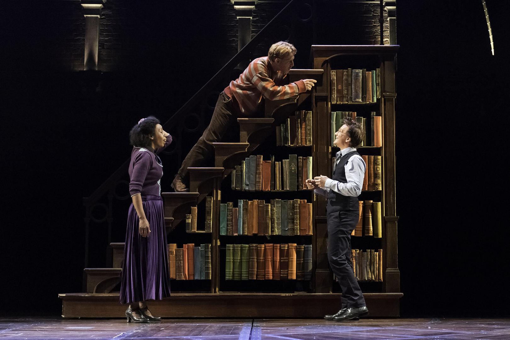 Hermione, Rony e Harry em frente a uma estante de livros.