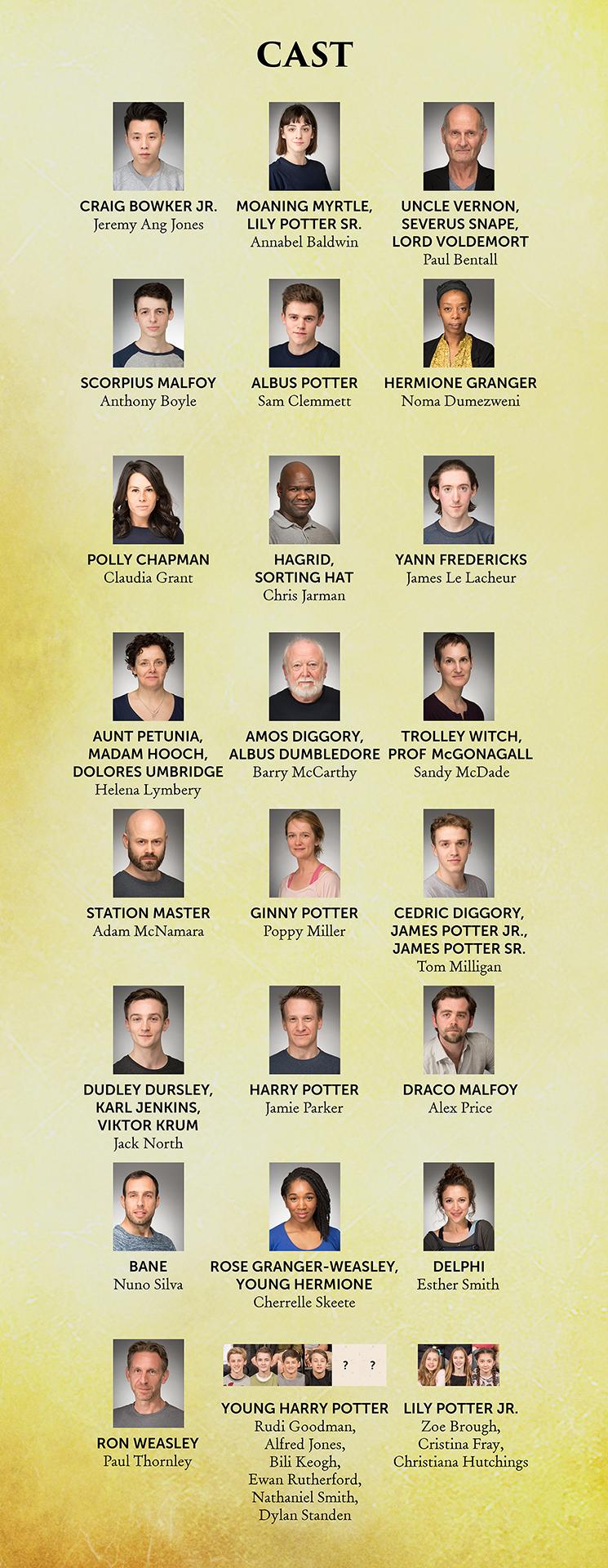 Infográfico feito pelo Animagos com o elenco completo de Criança Amaldiçoada