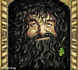 """Sir Winston... Hagrid! """"Eu amo desenhar Hagrid. Eu estava procurando por olhos de alcoólatras. Estes pertencem a Winston Churchill, que tinha olhos maravilhosos: ligeiramente amarelados. Ele tem o nariz de um cara que vi em Kettering e a boca de outra pessoa. Originalmente, ele parecia muito com o comediante Mel Smith. Suas roupas são inspiradas em um velho que vi vestindo a camiseta de uma banda de metal pesado""""."""
