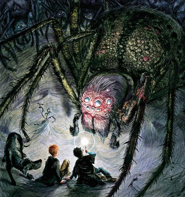 """Nossa! É Aragogue: """"Eu fui imediatamente lembrado de Laracna, a aranha em O Senhor dos Anéis. A descrição de Aragogue soa muito como ela. Eu amo aranhas. Elas são lindas. Temos uma incrível variedade de aranhas na nossa casa. Elas só vivem lá, mas eu ocasionalmente as alimento. Você deve receber de bom grado aranhas em sua casa. Se não fosse pelas aranhas, teríamos Deus sabe o que para lidar""""."""