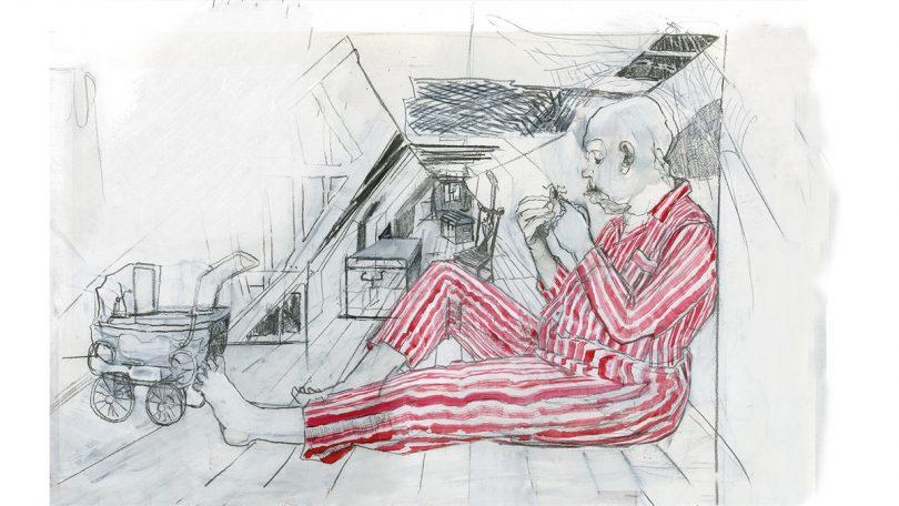 Um homem enorme e careca está num cômodo pequeno, usando um pijama listrado, que é a única coisa colorida da ilustração. Ele brinca com uma aranha nas mãos e, no cômodo há um berço velho, baús e cadeiras jogadas.