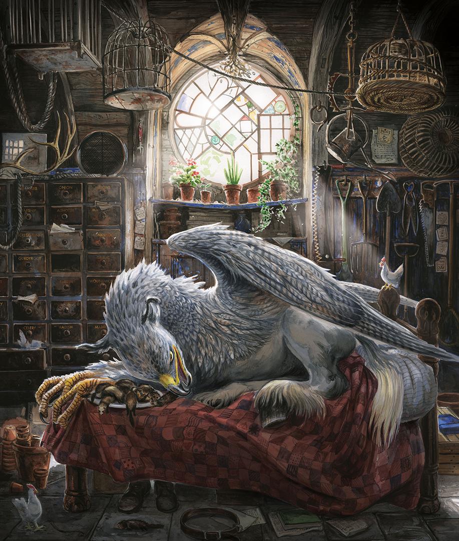 Dentro da cabana de Hagrid, o hipogrifo Bicuço dorme em cima da cama do gigante, com um prato de doninhas mortas a sua disposição perto da sua cabeça. O quarto é cheio de gavetas e gaiolas, tem até uma galinha na cabeceira da cama! Uma janela toda ornamentada e redonda ilumina o ambiente.