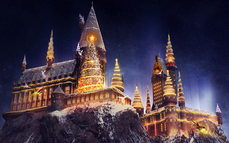 Imagem de divulgação do evento. Nela, o castelo de Hogwarts está repleto de neve, luzes de Natal e árvores de Natal por todo lado.