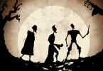Ilustração do Conto dos Três Irmãos inspirada na versão do filme. No fundo da imagem, uma lua cheia brilha, iluminando uma floresta e uma ponte feita por algo parecido com raízes de árvore. No centro da imagem estão as silhuetas dos três irmãos da história. Enfileirados, cada um segura sua relíquia. Antioco lidera a comitiva, empunhando sua varinha; Cadmo vem logo atrás, com a Pedra da Ressurreição; no fim da fila, vem Ignoto, cabisbaixo e enrolado num manto que parece a Capa da Invisibilidade, apesar de completamente visível. A imagem é formada ainda pela silhueta de uma árvore seca e, à direita, na frente de Antioco, está a silhueta do que parece ser a Morte, com suas mãos que muito se parecem com galhos de árvore.