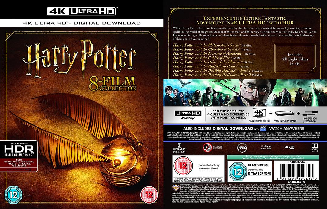 """Uma montagem com a capa e a contra capa do box. À esquerda, a capa mostra um pomo de ouro sobre uma superfície dourada e, em cima, o título """"Harry Potter - 8 film Collection"""". À direita, a contracapa com os títulos dos filmes, uma montagem com imagens de todos eles e as especificações de faixa etária indicativa."""