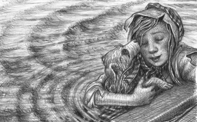 Uma garota está se escorando em uma plataforma de madeira enquanto na água, abraçando seu cachorro.