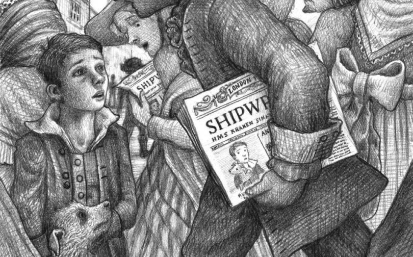 Um garoto vê um homem carregando um jornal no meio de uma multidão caótica.