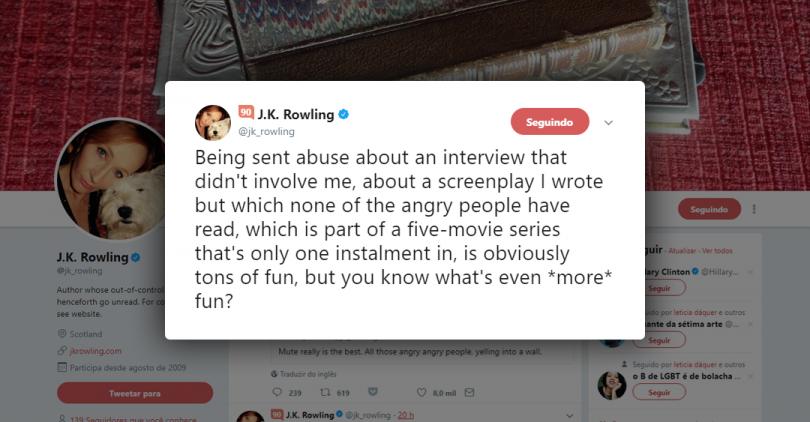 Um print screen do tuíte de Rowling que está disponível no corpo da notícia.
