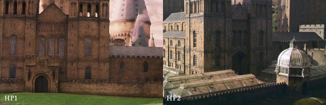 Uma montagem com capturas de tela mostrando o mesmo lugar em HP1 e 2. Em HP1, as estufas não existem.