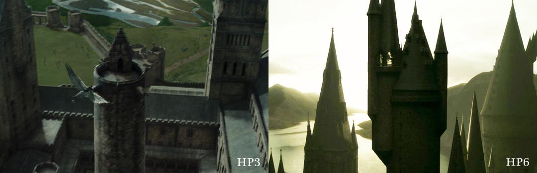 Montagem com imagens de HP3 e 6. Em HP3, a torre tinha um terraço aberto sem nada nele. Em HP6, tem uma sala aberta cheia de instrumentos. É bem maior em HP6.