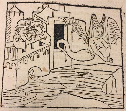 Ilustração antiga em que vemos Melusina saindo do castelo. Nesta versão, ela tem asas.