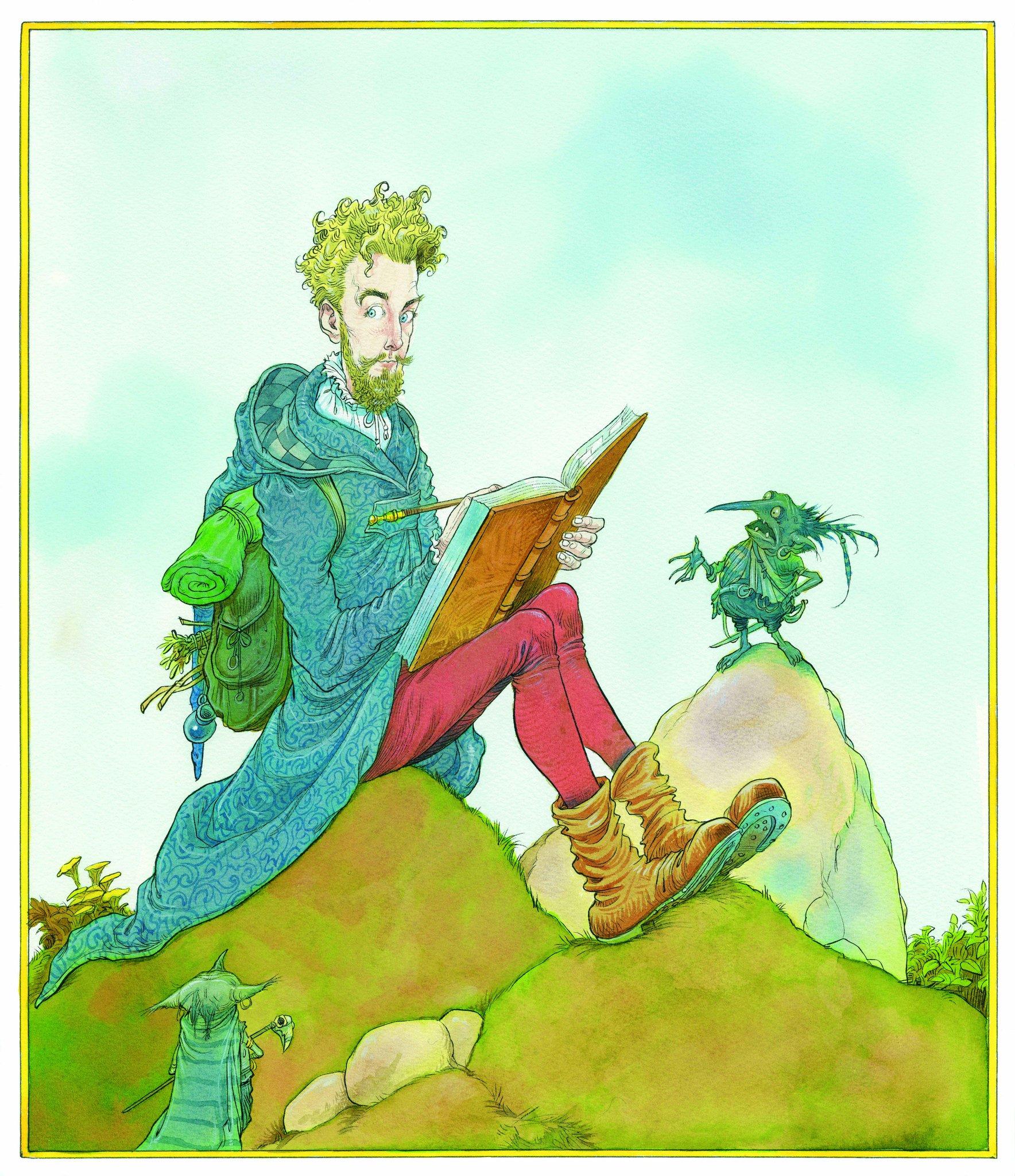 Na imagem, um homem loiro, de olhos azuis, escreve em um livro. Ele olha para pequenas criaturas esverdeadas que parecem gnomos. Ele está sentado em um montinho, há outra criatura em outro montinho olhando e aparentemente falando com ele. O homem está usando uma roupa azul estampada com capuz, uma calça rosa e botas amarelas. Ele carrega uma bolsa com o que parece ser um saco de dormir.