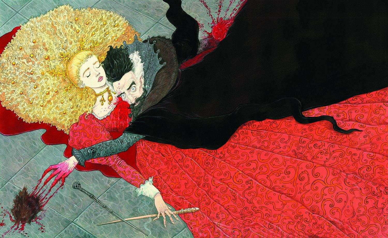 Na imagem, vemos duas pessoas. A primeira, uma mulher, está de olhos fechados. Ela é bonita, tem um cabelo loiro grande e volumoso, está usando um vestido vermelho enorme. Ela está deitada em cima de uma poça de sangue e segurava uma varinha na mão direita. A segunda pessoa, um homem, está por cima dela. Seus olhos estão arregalados e ele segura um coração vermelho reluzente numa das mãos e tenta alcançar o que parece ser uma bola peluda com a outra mão. Sua vairnha está no chão, próxima à sua mão esquerda. Ele usa uma roupa completamente preta, tem cabelo preto com branco dos lados.