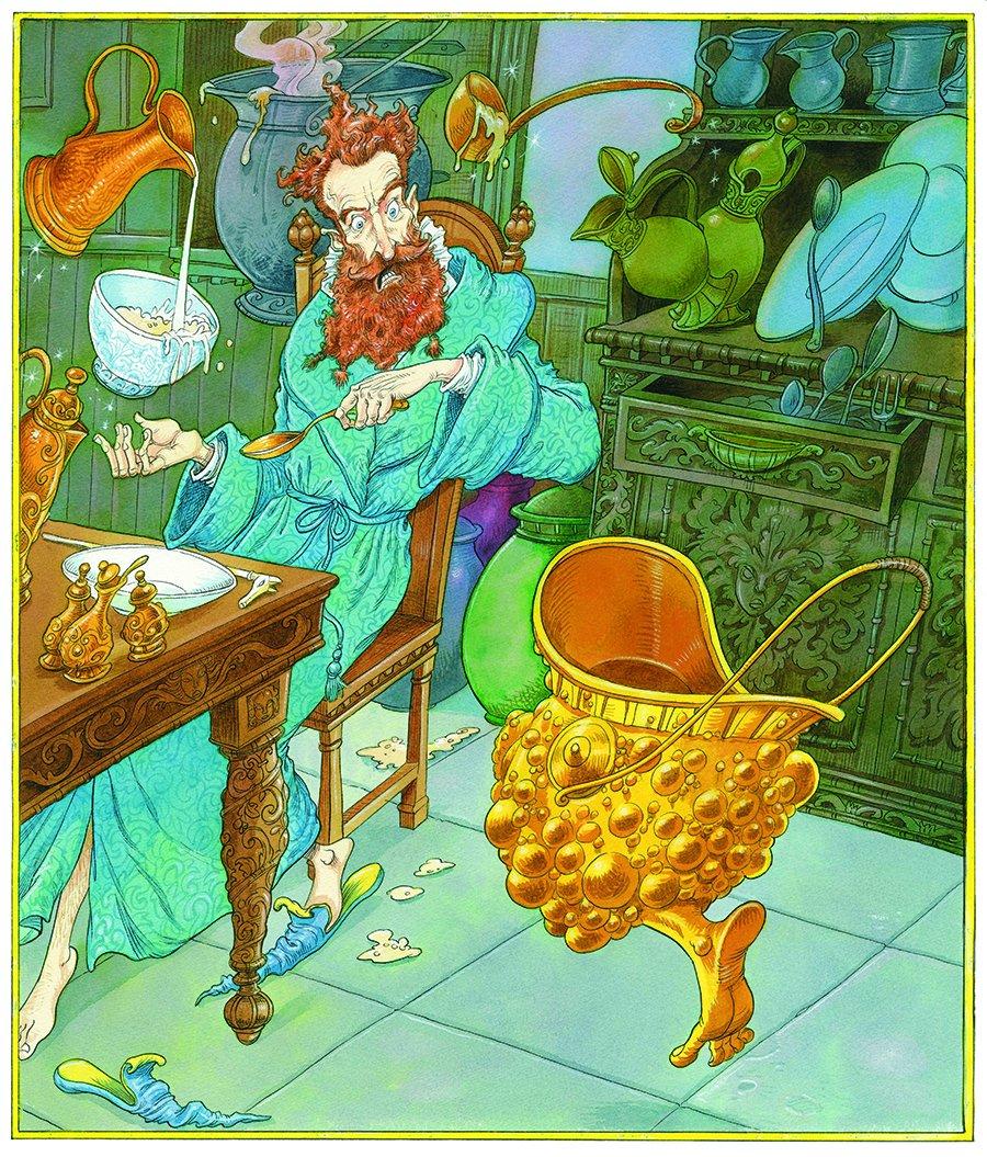 Na ilustração, vemos a casa de um bruxo, com diversas dicas sobre isso: uma concha levita próxima a um caldeirão, um bule de leite parece servir leite em uma tigela, que também está levitando. Na cena, vemos um homem observando assustado um caldeirão dourado repleto de bolinhas com verrugas e pulando com um pé da mesma cor do caldeirão.