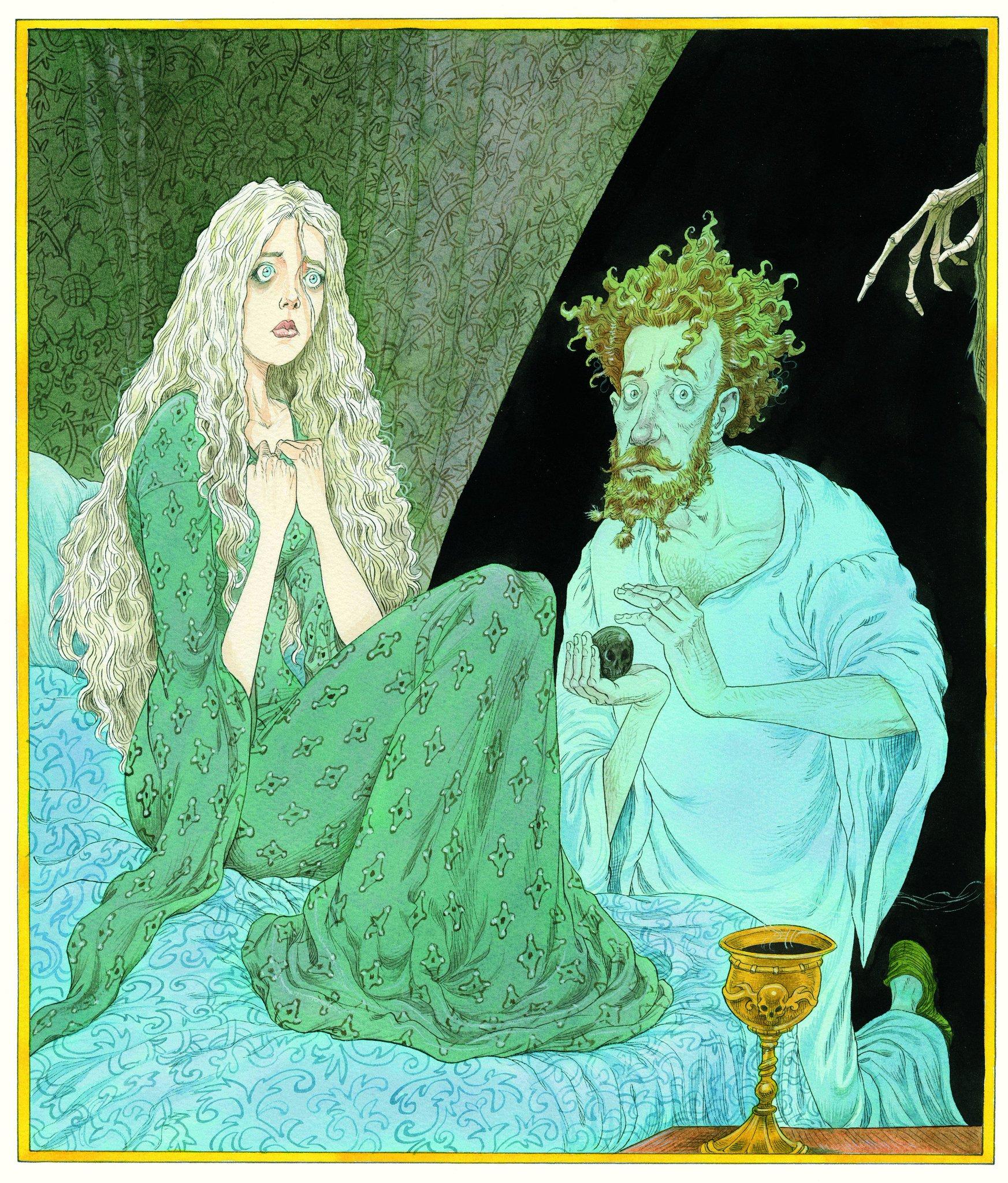 Na ilustração, vemos duas pessoas. Uma mulher, ao lado esquerdo, e um homem, do lado direito. No lado direito, perto do homem, uma mão esquelética parece se aproximar do homem. Neste desenho, a mulher tem olhos muito azuis e parece estar assustada. Ela é loira e tem cabelos longuíssimos, usa um vestido verde com estampa de algum tipo de flor. Ela está sentada no que parece ser uma cama. O homem parece estar olhando para frente (na direção de quem está vendo a imagem). Ele segura uma pedra que parece lembrar um crânio, ou é a luz que está fazendo isso parecer. Ele usa uma camisola enorme, é ruivo, também está assustado e está ajoelhado em frente à cama. Mais à frente, vemos um cálice dourado com um líquido escuro.