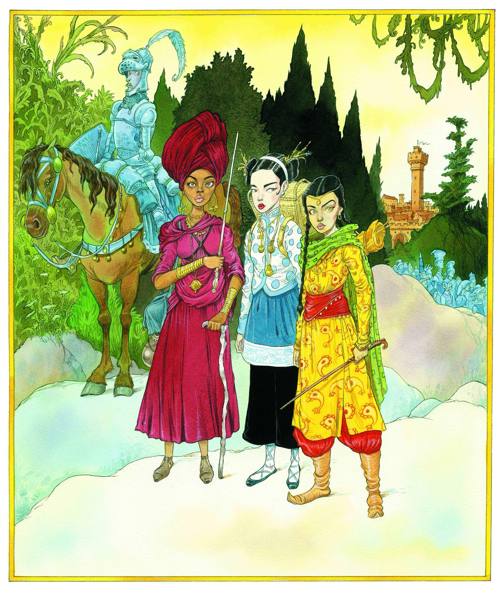 Na ilustração, vemos quatro pessoas. Três mulheres à frente e um homem atrás. As três mulheres são bastante diferentes entre si. Da direita para a esquerda, vemos uma de pele acobreada, com cabelos escuros em tranças. Suas roupas são bastante coloridas, de cores amarela, vermelha e verde. Ela usa uma varinha longa. Ao seu lado, uma mulher de pele alvíssima, carrega uma mochila. Suas roupas são mais discretas que a mulher de pele acobreada. É azul e usa uma calça (ou saia) preta. Ao seu lado, uma mulher de pele escura segura uma varinha longa com a mão direita e uma bengala com a mão esquerda.Ela usa uma roupa de cor-de-rosa e usa um turbante da mesma cor. Atrás delas, vemos um cavaleiro em tons azulados. Ele olha para as mulheres desconfiado e assustado. Ele está montado num cavalo de cor marrom. Na paisagem, vemos uma multidão agrupada em tons azulados e um castelo mais ao fundo. Ao redor deles, uma plantação verde rica.