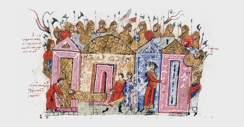Uma ilustração medieval que mostra a população de uma cidade assistindo a uma procissão de acólutos que carregam um homem deitado em uma maca.