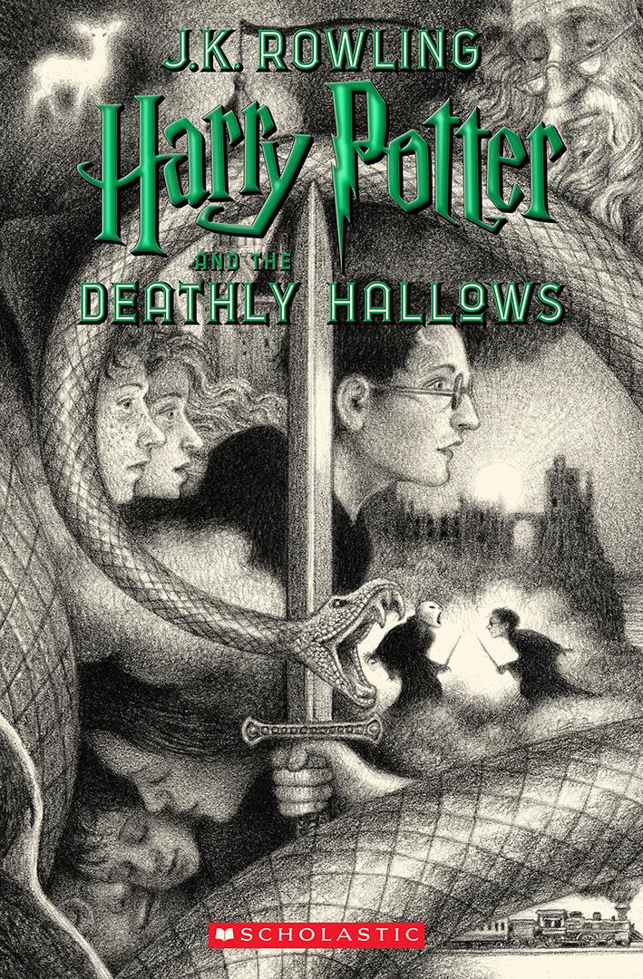 Na capa de Relíquias da Morte, no topo está o rosto de Dumbledore e o patrono de Harry. No centro, Harry segura a espada de Griffyndor, Rony e Hermione atrás dele. Embaixo, Harry aparece bebê entre Lílian e Tiago, seus pais. Voldemort e Harry se encaram na batalha final. O Expresso de Hogwarts aparece num detalhe no canto inferior direito.