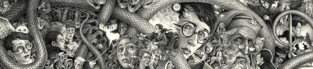 A ilustração completa com todas as composições que, separadas, formam as capas dos sete livros. As descrições de cada trecho da ilustração estão nas imagens da galeria abaixo.
