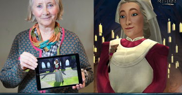 Imagem dividida em duas partes. Do lado esquerdo, vemos a atriz Gemma Jones segurando um tablet mostrando a personagem Madame Pomfrey no jogo Harry Potter: Mistérios de Hogwarts. Do outro lado, vemos Madame Pomfrey em uma arte de Mistérios de Hogwarts.