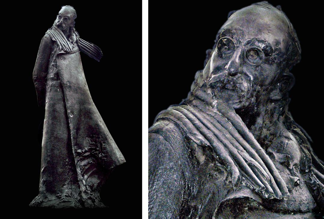 Duas fotos da escultura de Leon Blum. Em uma, a estátua aparece de corpo inteiro. Ele veste uma capa grande que cobre até seus pés, um cachecol e óculos. Ele é careca e tem barba. Ele está com as mãos para trás. Na outra foto, um close nos detalhes de seu rosto. Ele usa um óculos redondo e tem uma expressão sóbria.