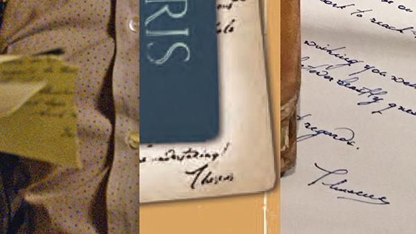 Uma montagem comparando três pedaços de papel com a assinatura de Teseu Scamander. A primeira é do trailer, e parece igual à segunda, que é dos cartões postais da imagem promocional, enquanto que a terceira, bem diferente, vem de uma carta cortada do primeiro filme.