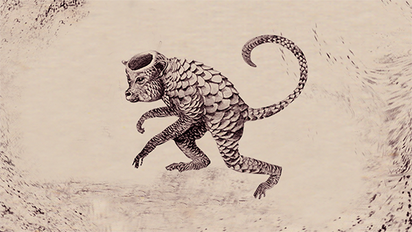 Uma ilustração de um kappa. Parece um macaco, com o rabo comprido. É todo escamado e no topo da cabeça tem um buraco oco.