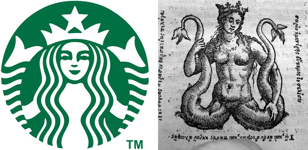 Comparação entre o logo do Starbucks e um desenho antigo de uma melusina. O logo do Starbucks tem o fundo verde, é completamente circular e tem um desenho de uma mulher em cor branca. Ela está olhando para a frente, tem uma coroa com uma estrela na ponta e duas caudas, que estão dos lados da imagem. Ela segura as caudas com as mãos. No desenho antigo, vemos praticamente a mesma coisa: uma mulher-peixe segurando duas caudas com a mão e uma coroa na cabeça.