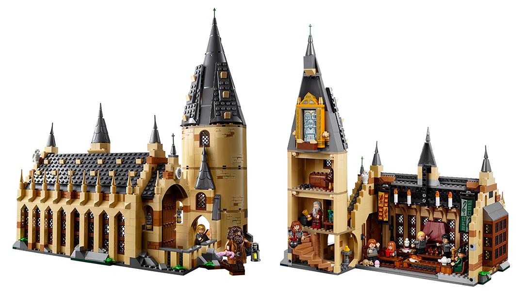 Foto mostrando o interior e exterior do set. Há salas na torres com temas. No topo, há o espelho de ojesed com o reflexo de Harry com seus pais.