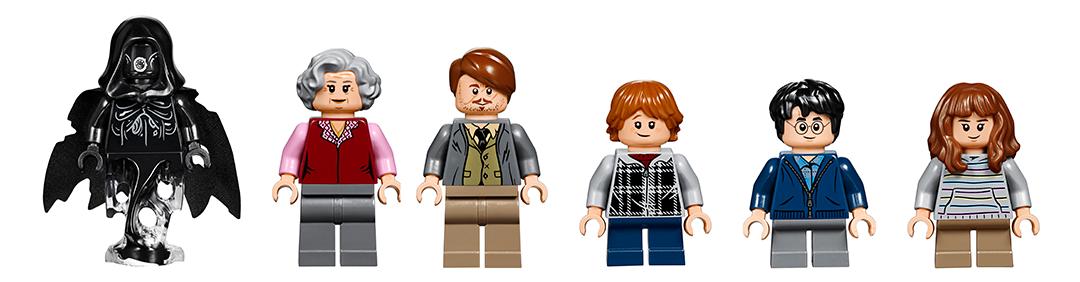 As figuras do set: um dementador, a bruxa do carrinho de doces, Lupin, Rony, Harry e Hermione. Todos usam roupas de trouxa.