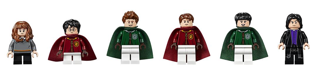 Foto das figuras do set: Hermione, Harry, Luciano, Wood, Flint e Snape.