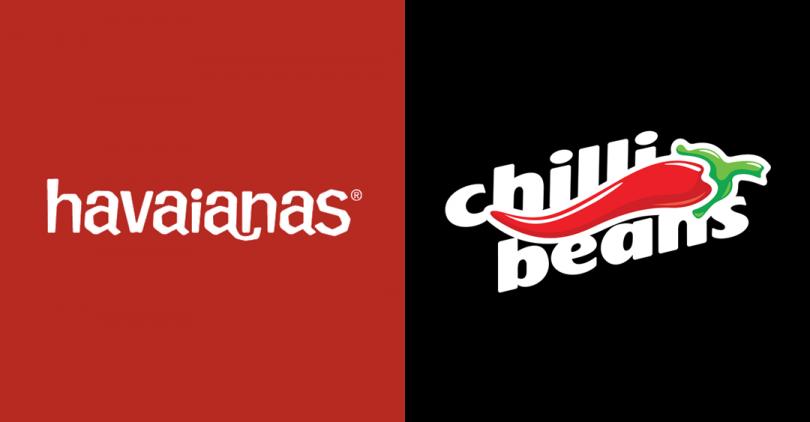 À direita, o logo das Havaianas. À esquerda, o da Chilli Beans.