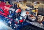 Ilustração do set do Expresso de Hogwarts que mostra Harry e Rony entrando na plataforma.