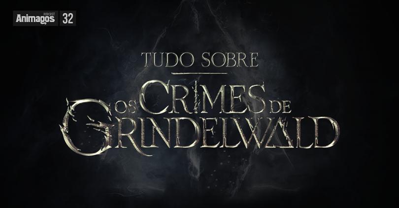 """O texto """"Tudo sobre Os Crimes de Grindelwald"""" aparece sobre um céu escuro onde as nuvens formam o símbolo das relíquias da morte."""