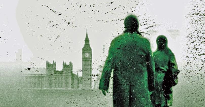 Parte da capa do livro Lethal White. Nela, vemos Strike e Robin, de costas, observando uma paisagem londrina típica: o Big Ben e o castelo de Westminster.