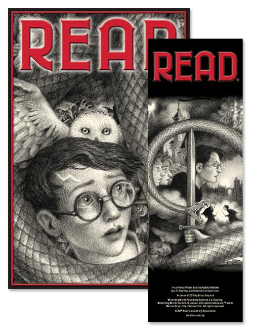 """Imagem promocional dos pôster e marca-páginas de Harry Potter. O pôster tem Harry e Edwiges, como na capa de Pedra Filosofal de Brian Selznick, e o marca-páginas tem Harry envolto por Nagini, como na capa de Relíquias da Morte. Nos dois produtos há a palavra """"read""""."""