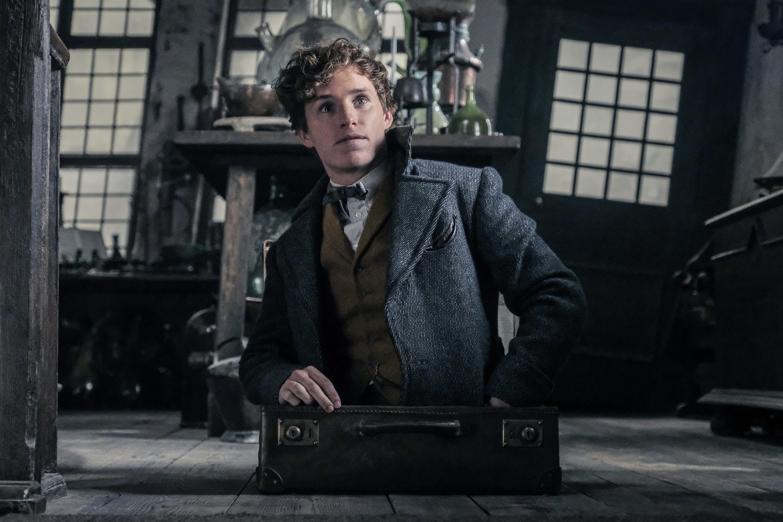 Foto de Newt saindo de sua maleta, que está colocada no chão de um lugar escuro e com portas e janelas tortas. Atrás dele, há uma mesa cheia de artefatos que não são identificáveis.
