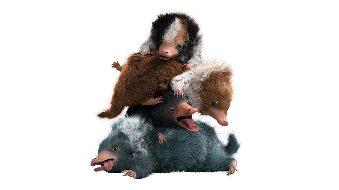 Quatro bebês de pelúcio, um em cima do outro. Cada um tem uma cor diferente.