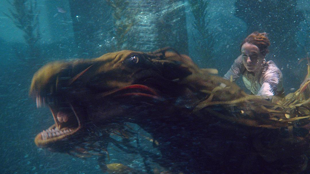 Num frame do trailer, Newt aparece montado no cavalo-do-lago com um sorriso no rosto.