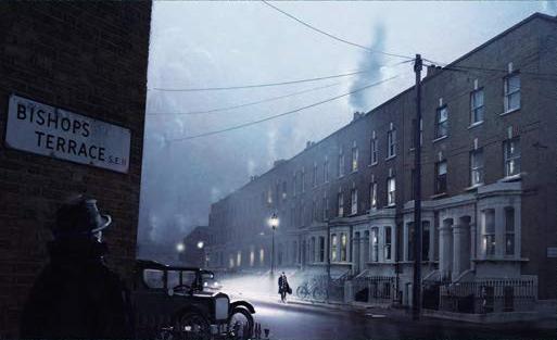 """Desenho de uma rua com um prédio de tijolos e com escadas breves em frente. Alguns transeuntes andam pelas calçadas. Numa parede, lê-se """"Bishops Terrace St.""""."""