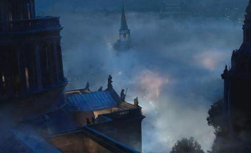 Desenho do ponto de vista do topo de um prédio. É possível ver suas formas no terraço, conversando. No fundo, há muita neblina e, saindo dela, uma torre de uma igreja.