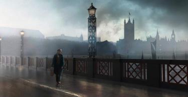 Desenho de Newt Scamander em uma ponte de Londres. Ao fundo, é possível ver o Big Ben envolto em névoa.