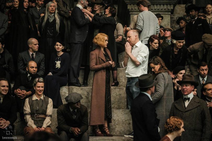 David Yates dirige Alison Sudol em um anfiteatro cheio.