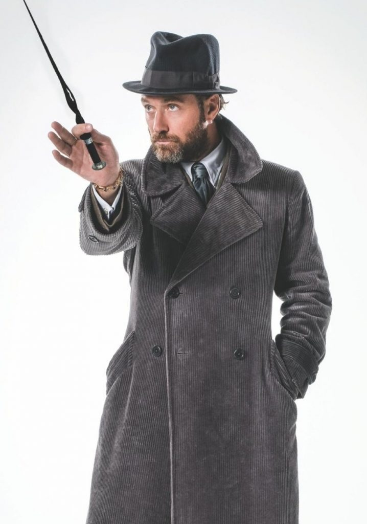 Em um ensaio fotográfico do filme, Dumbledore segura sua varinha com uma mão. A outra está num bolso do seu sobretudo cinza-escuro. O personagem olha para o lado direito. Em seu pulso, há uma espécie de pulseira e ele veste um chapéu preto.