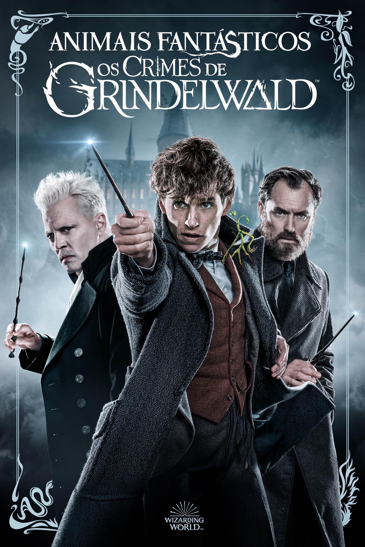 No topo da imagem, há o título do filme, e na arte, Grindelwald, Newt e Dumbledore em frente a Hogwarts em tons de azul. Eles apontam suas varinhas. A arte é envolta em um ornamento no estilo dos anos 30.