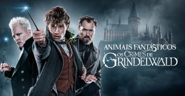 No lado direito da imagem, há o título do filme em frente a Hogwarts em tons de azul, e na arte no lado esquerdo, Grindelwald, Newt e Dumbledore. Eles apontam suas varinhas.