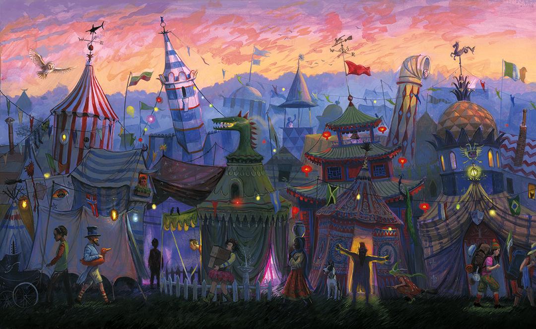 Um panorama do acampamento da Copa Mundial de Quadribol. É uma explosão de cores e pessoas passando pra lá e pra cá. Cada barraca parece ter sua própria personalidade.