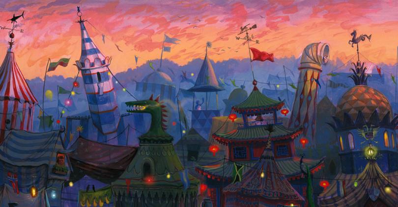 Corte da Ilustração do acampamento da Copa Mundial de Quadribol. A descrição está no final do post.