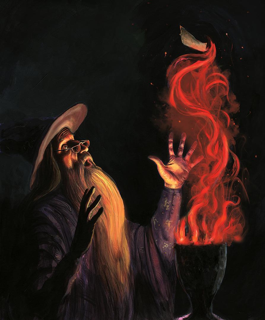 Dumbledore está ao lado do Cálice de Fogo, que se incendeia e solta um pedaço de papel.